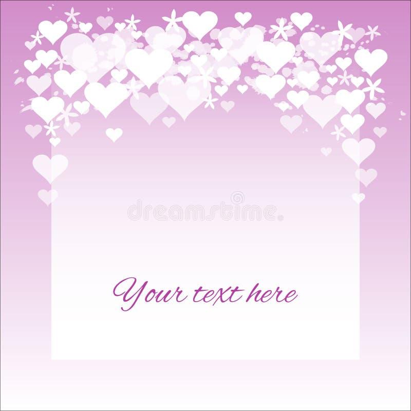 Carta semplice del biglietto di S. Valentino con i cuori ed i fiori; viola royalty illustrazione gratis