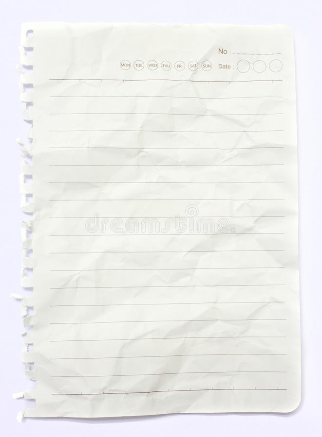 Carta sgualcita bianco allineata fotografia stock