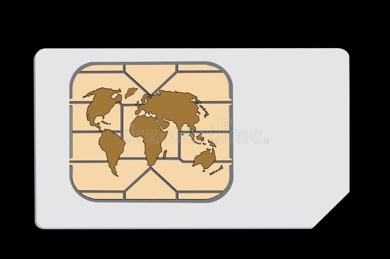 Carta SIM globale Isolato sul nero Concetto illustrazione di stock