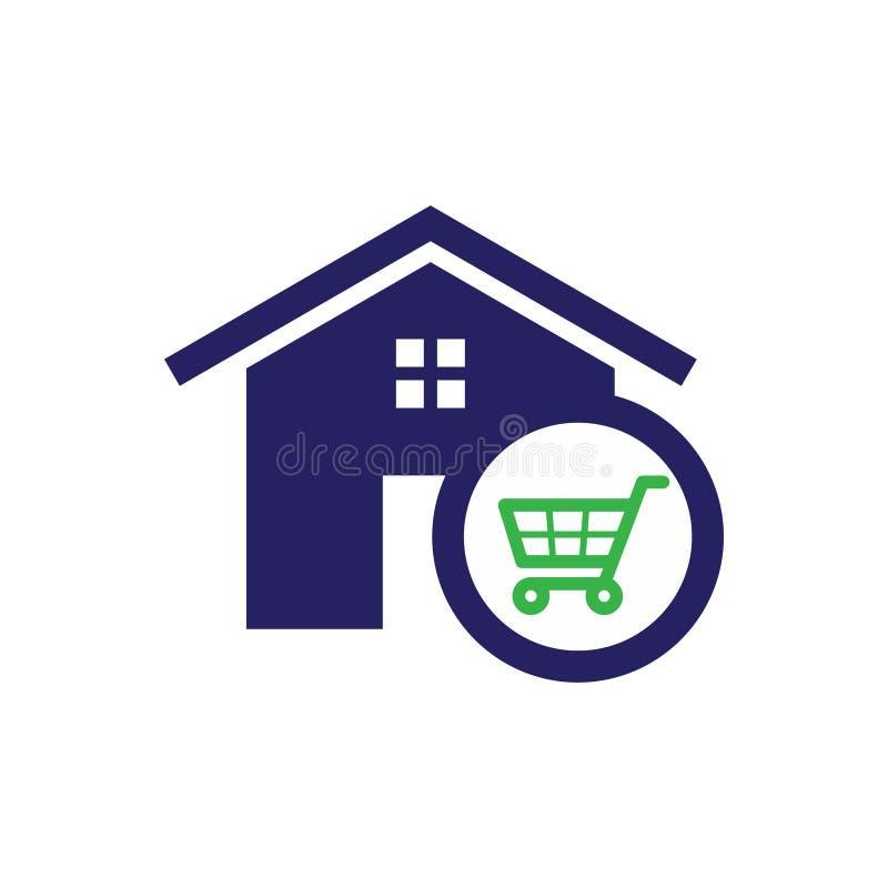 Carta simple de la vivienda y de las compras del icono de las propiedades inmobiliarias para el icono del web o el APP móvil ilustración del vector