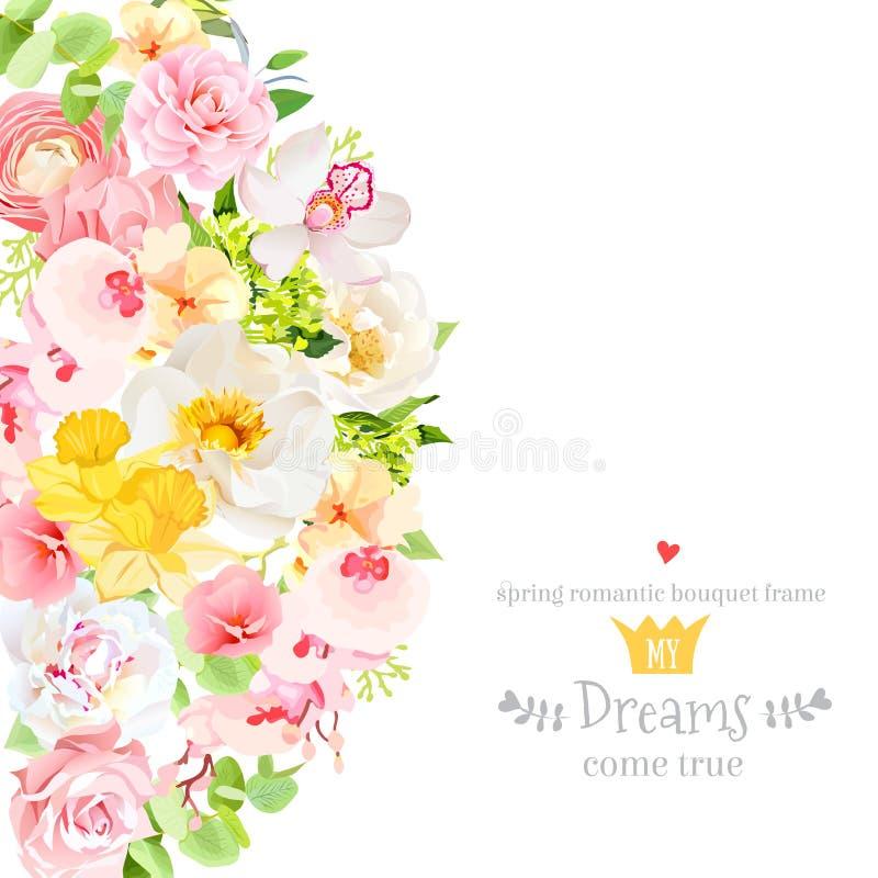 Carta soleggiata di progettazione di vettore della molla con i fiori e le foglie royalty illustrazione gratis