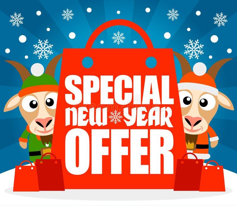 Carta speciale di offerta del nuovo anno con le capre divertenti royalty illustrazione gratis