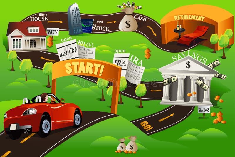 Carta stradale finanziaria illustrazione di stock