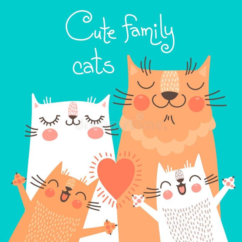 Carta sveglia con i gatti di famiglia illustrazione vettoriale
