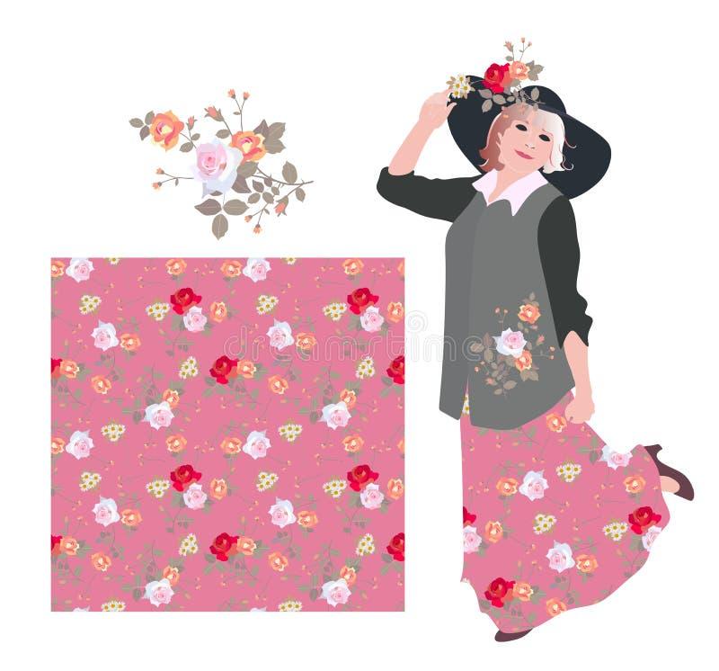 Carta sveglia con il modello senza cuciture floreale, mazzo delle rose e donna bionda ballante dell'abbigliamento casual illustrazione vettoriale