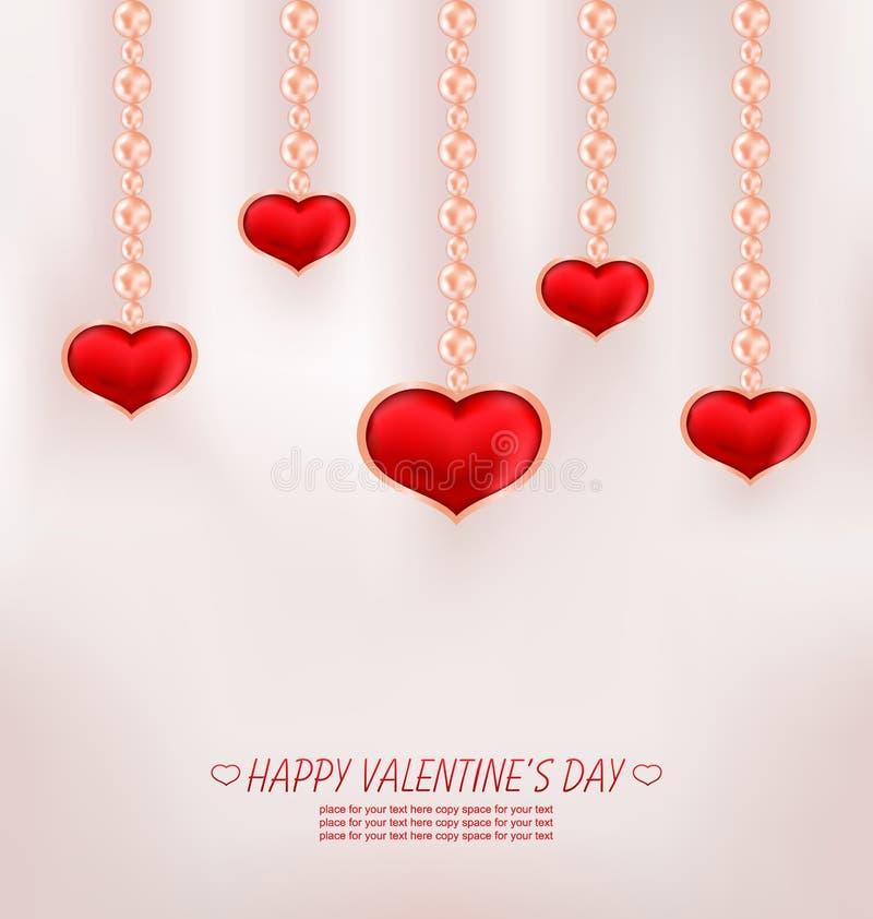 Carta sveglia con l'arco rosso, Rosa, cuore, per il giorno di biglietti di S. Valentino felice illustrazione di stock