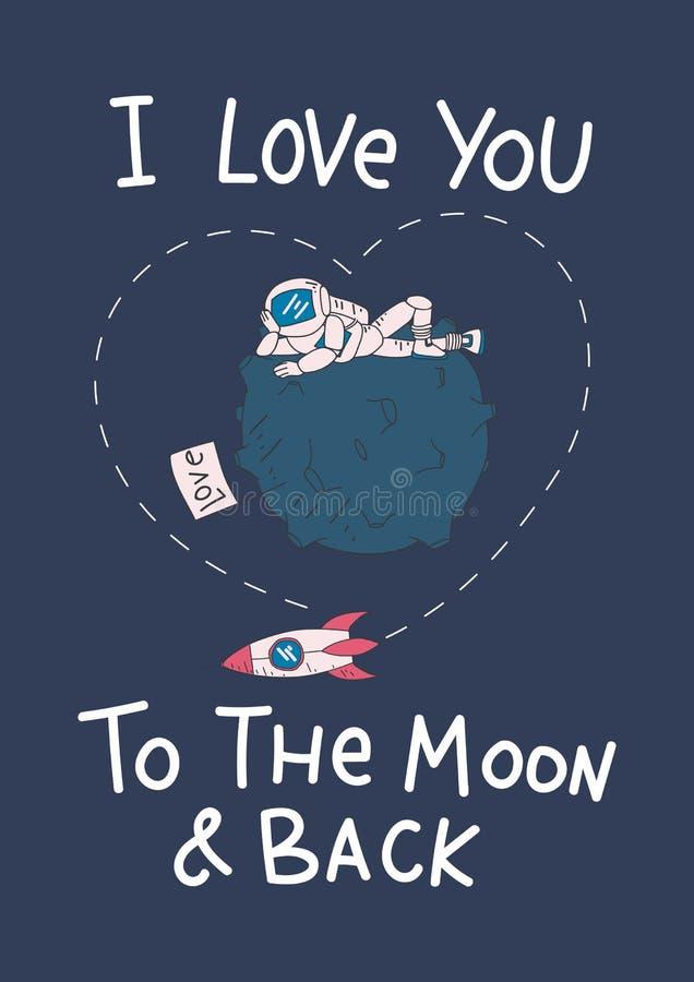 Carta sveglia con l'astronauta, luna, astronave ed iscrizione di iscrizione illustrazione vettoriale