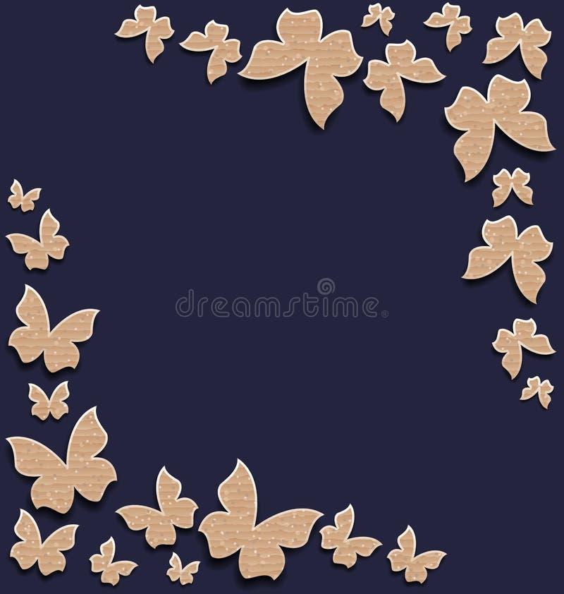 Carta sveglia con le farfalle, composizione fatta in carta del cartone illustrazione di stock