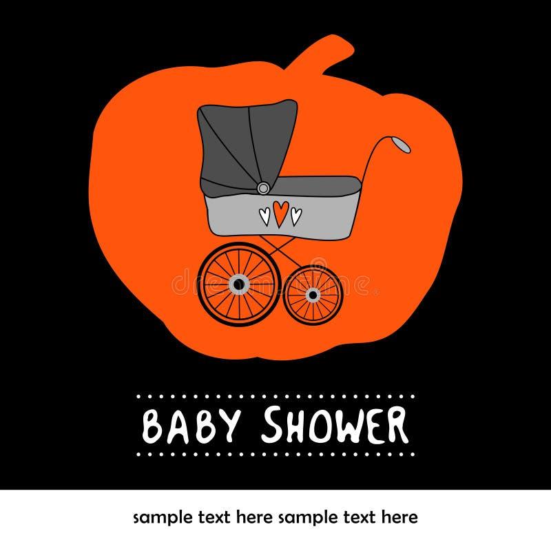 Carta sveglia dell'invito di compleanno della doccia di bambino con carrozzina e la zucca, illustrazione illustrazione di stock