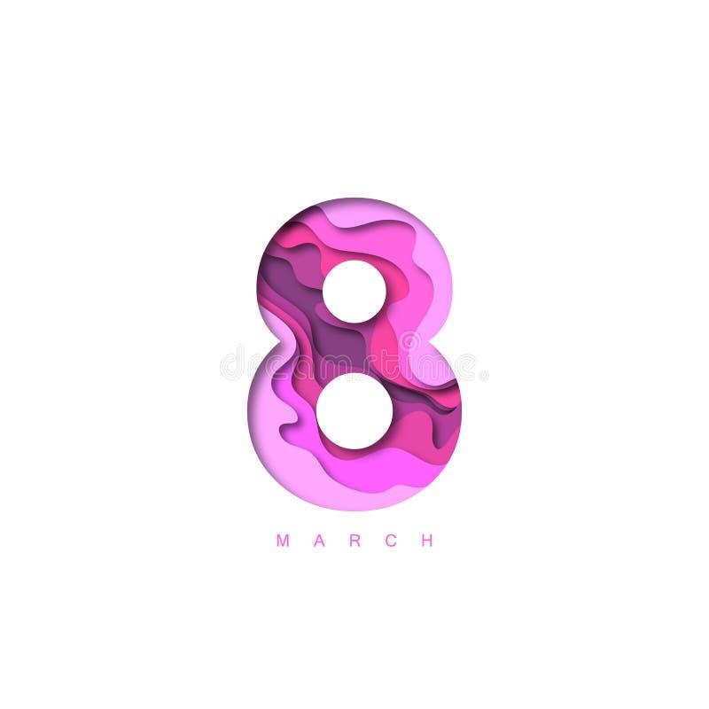 Carta taglio progettazione di forma 3D dell'8 marzo Modello per gli ambiti di provenienza della cartolina d'auguri e di Giornata  illustrazione vettoriale