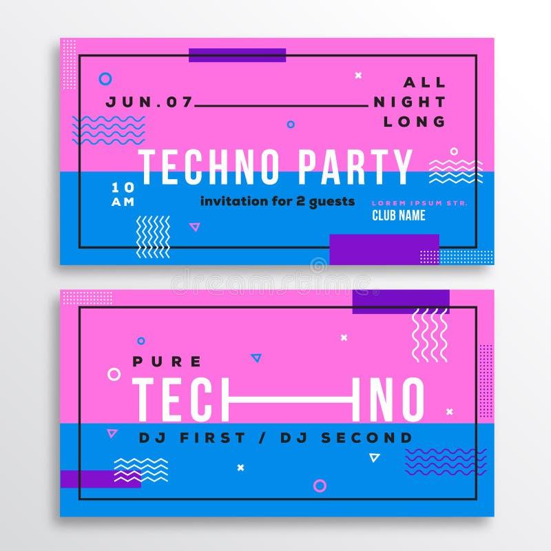 Carta techna dell'invito del club del partito di notte o modello dell'aletta di filatoio Fondo svizzero piano astratto moderno di illustrazione di stock