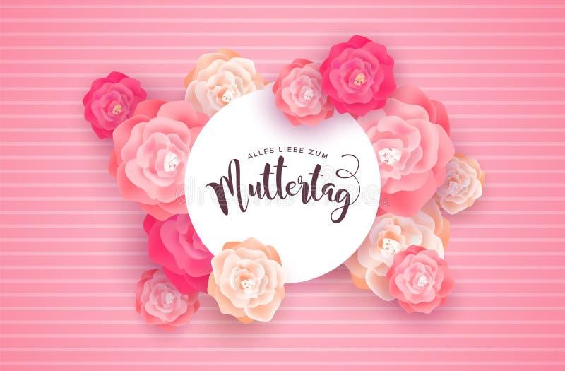 Carta tedesca di giorno di madri con i fiori rosa rosa illustrazione vettoriale