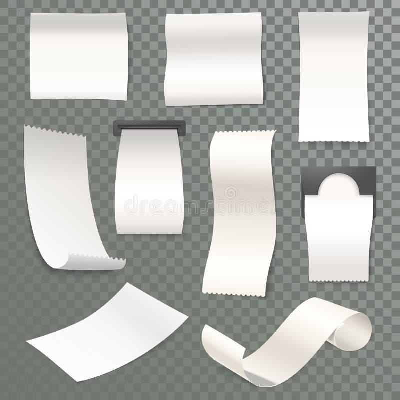 carta termica rotolata ricevuta 3d per il cash machine illustrazione vettoriale
