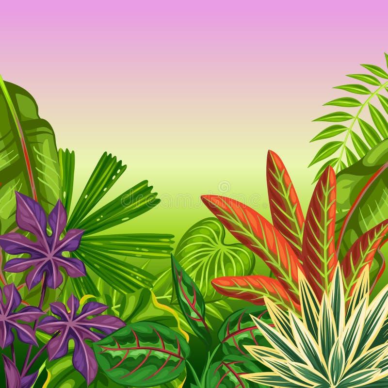 Carta tropicale di paradiso con le piante e le foglie stilizzate illustrazione di stock