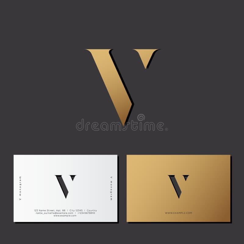 Carta V Monograma del oro de la ilusión óptica Logotipo del oro V en un fondo oscuro ilustración del vector