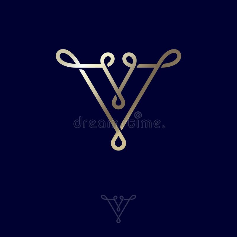 Carta V V monograma, lazos de los ingenios de la letra Icono de la red en diversos fondos ilustración del vector