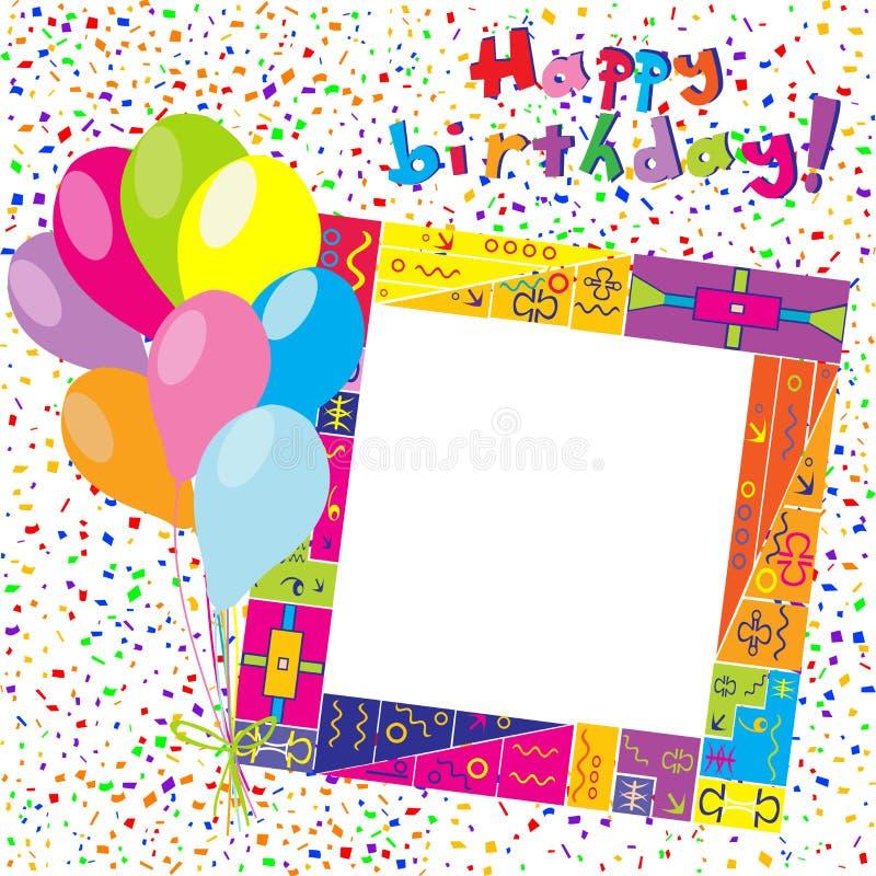 Carta variopinta di buon compleanno con i coriandoli ed i palloni illustrazione vettoriale