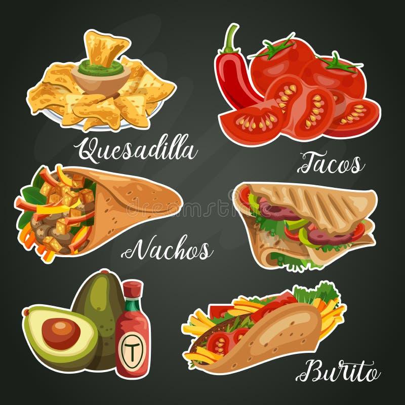 Carta variopinta di vettore circa il Messico Cucina messicana Alimenti a rapida preparazione royalty illustrazione gratis