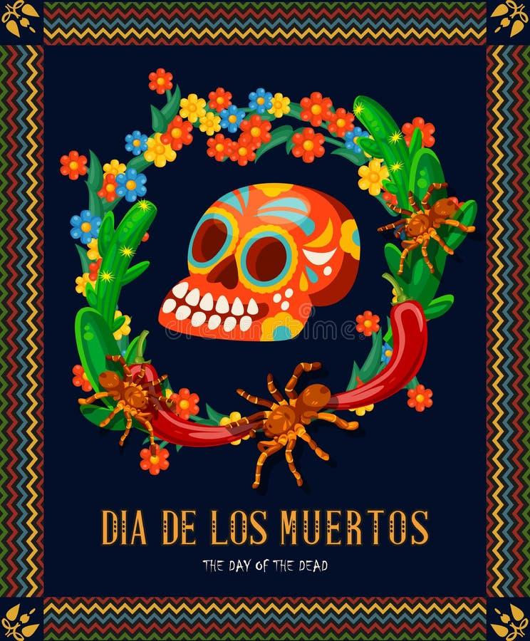 Carta variopinta di vettore circa il Messico Dia De Los Muertos Giorno del cranio guasto Giorno dei morti illustrazione di stock