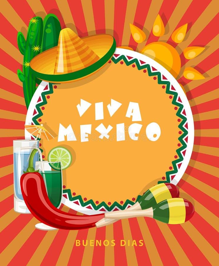 Carta variopinta di vettore circa il Messico Viva Messico Manifesto di viaggio con gli oggetti messicani illustrazione di stock