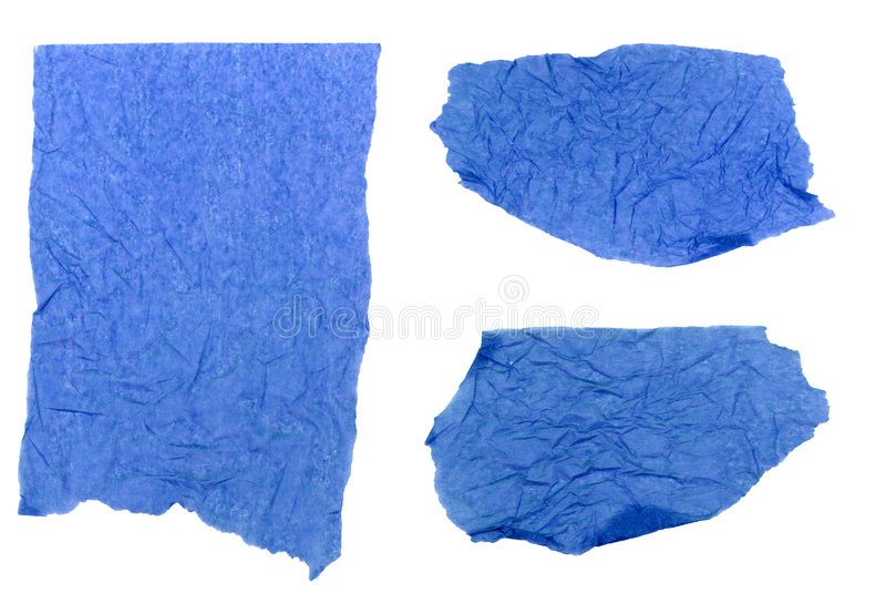 Carta velina blu strappata fotografia stock