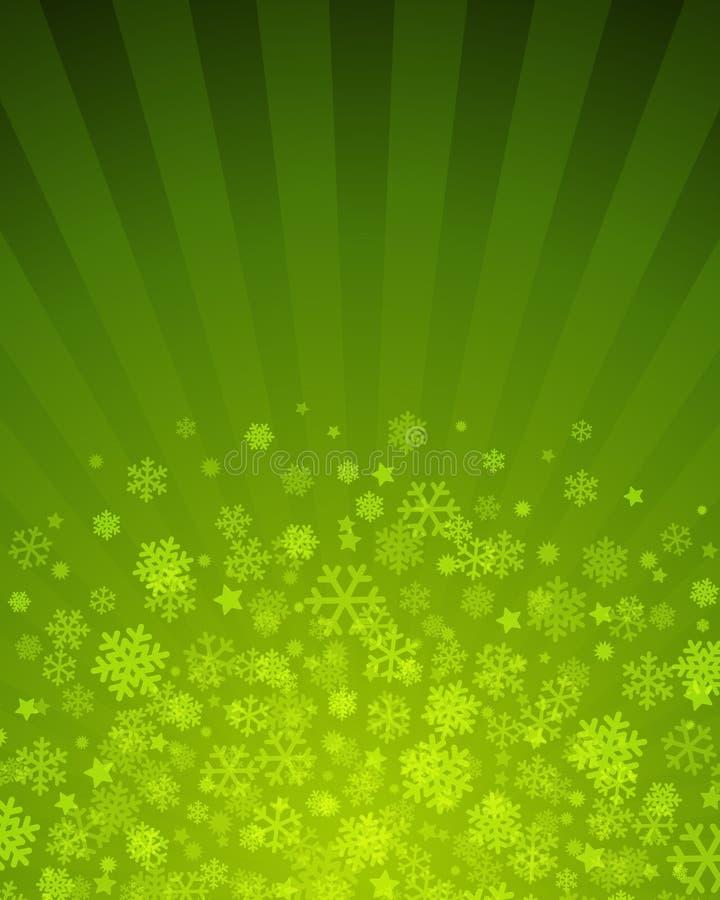Carta Verde Con El Copo De Nieve Imagen de archivo libre de regalías