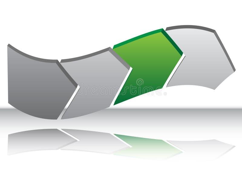 Carta verde de la deformación de la flecha ilustración del vector