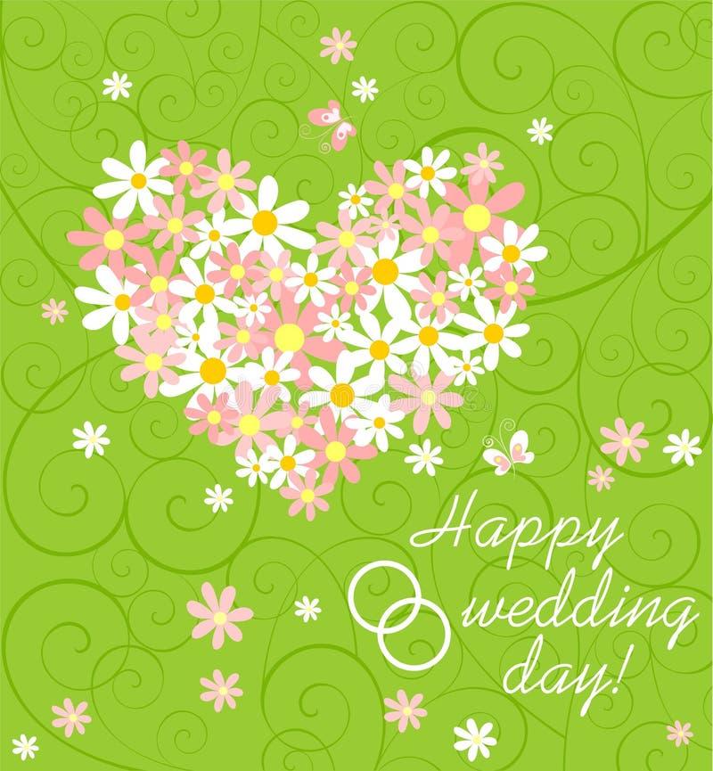 Carta verde di nozze con il mazzo della margherita rosa e bianca con forma, i desideri e gli anelli del cuore illustrazione di stock