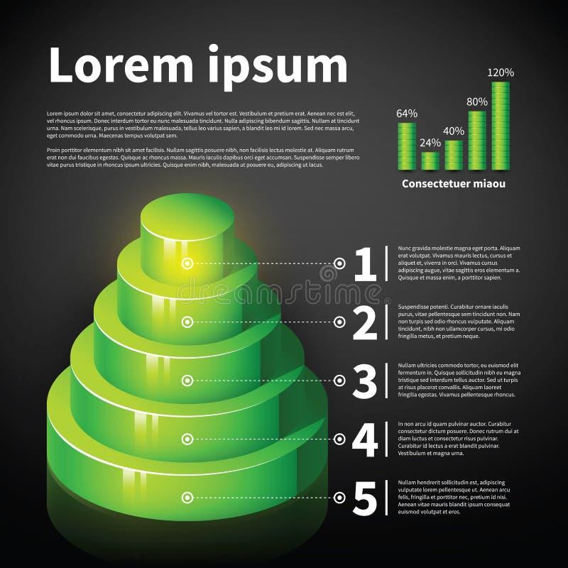 Carta verde do cone 3d com alguns elementos infographic ilustração do vetor