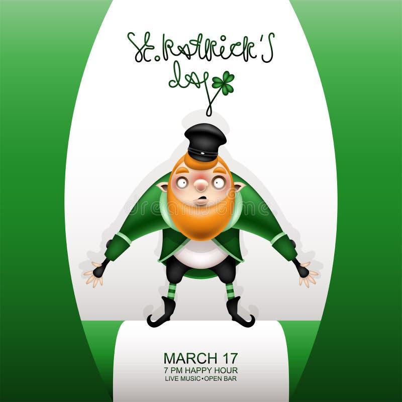 Carta verde e gnomo di Gretting con il berretto nero royalty illustrazione gratis