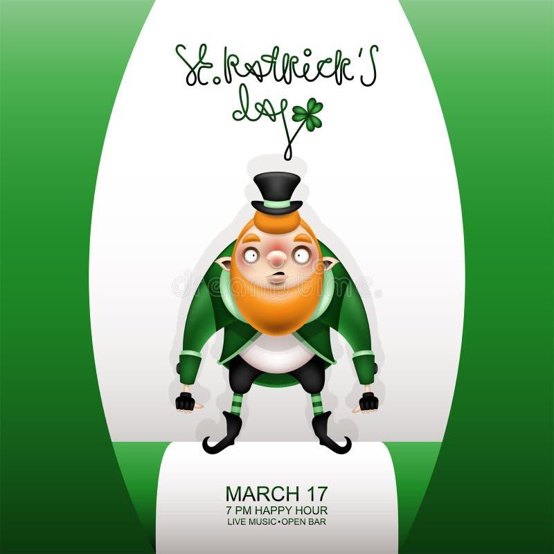 Carta verde e gnomo di Gretting in un berretto nero royalty illustrazione gratis