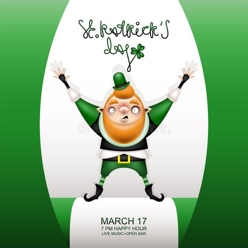 Carta verde e gnomo di Gretting in un piccolo cappello illustrazione di stock