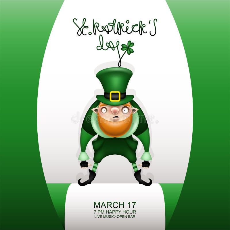Carta verde y gnomo de Gretting en un sombrero verde de los patricks ilustración del vector