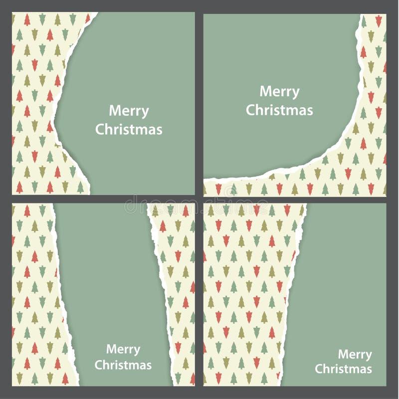 Carta violenta Natale di vettore Simplifie dello strappo e della carta da imballaggio illustrazione di stock