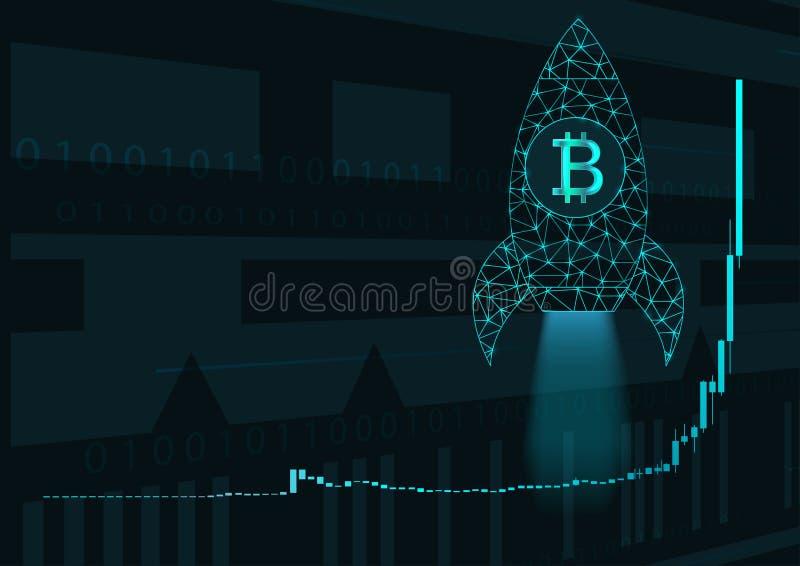 Carta y cohete del precio de Bitcoin ilustración del vector