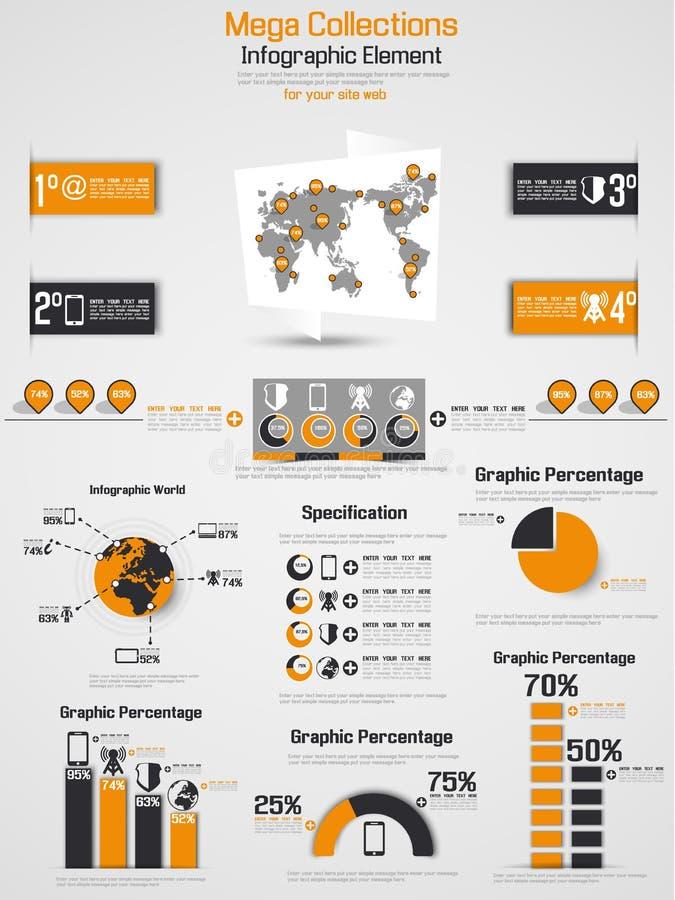 Carta y gráfico de elementos de Infographic libre illustration