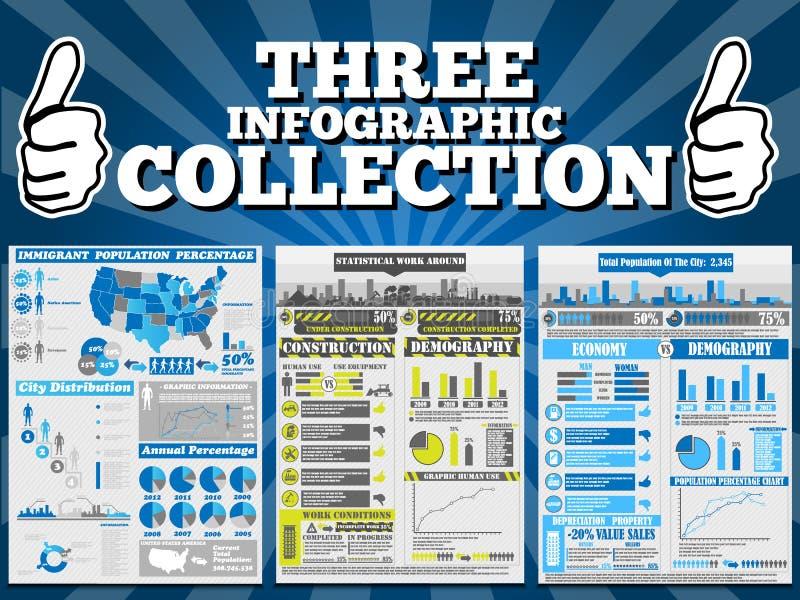 Carta y gráfico demográficos de elementos de Infographic stock de ilustración