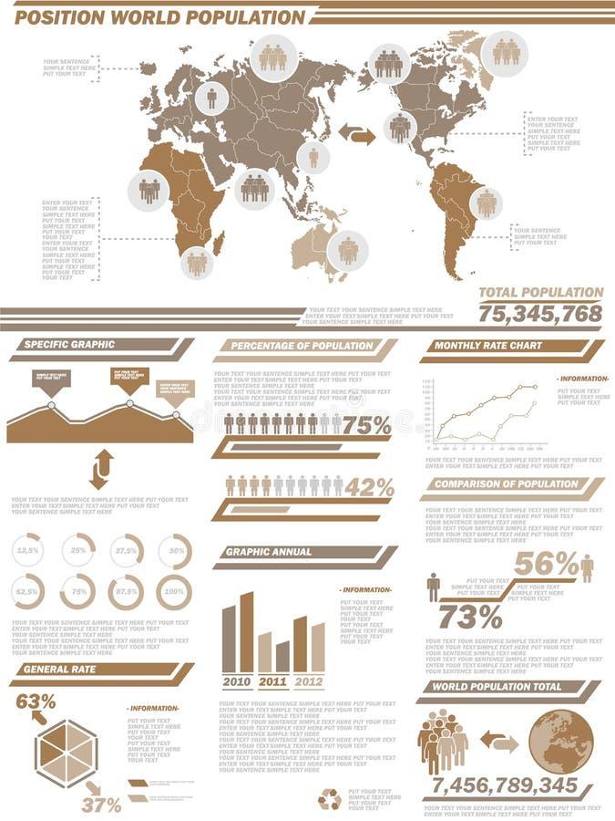 Carta y gráfico demográficos de elementos de Infographic ilustración del vector