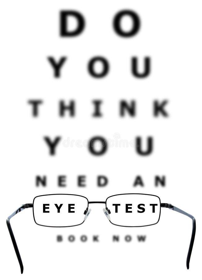 Carta y vidrios de prueba del ojo ilustración del vector