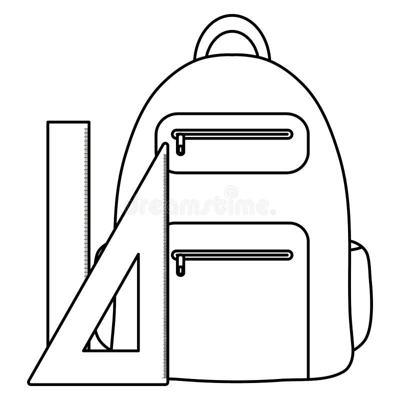 Cartable avec l'école d'approvisionnements de règles illustration stock