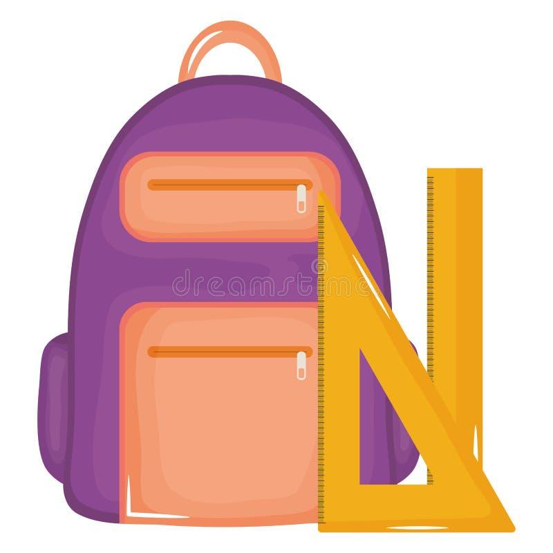 Cartable avec l'école d'approvisionnements de règles illustration libre de droits