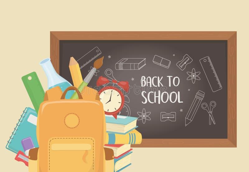 Cartable avec le tableau et approvisionnements de nouveau à l'école illustration stock