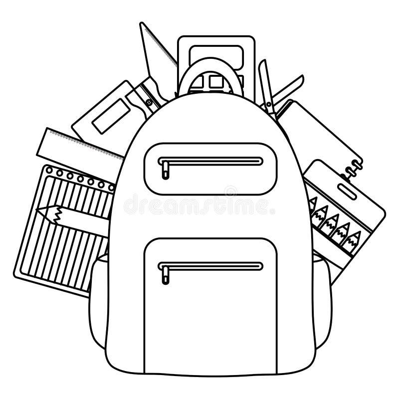 Cartable avec les feuilles et les approvisionnements de papier illustration de vecteur