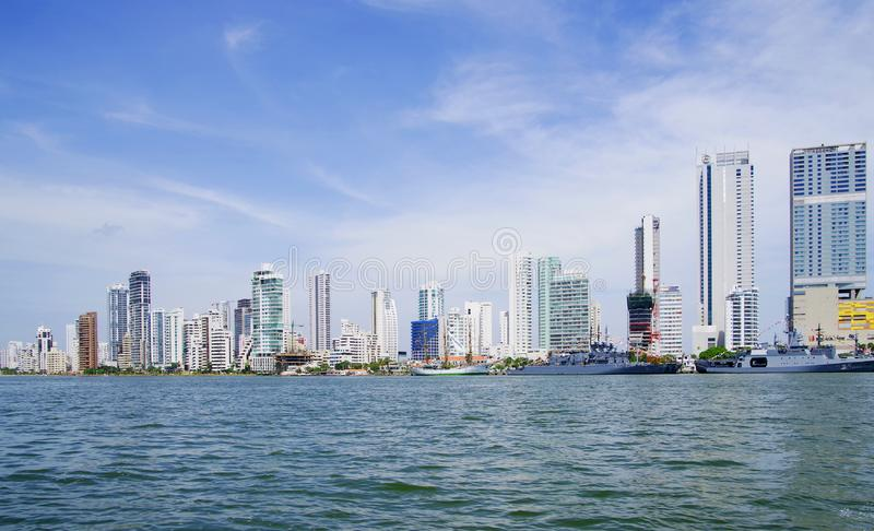 CARTAGENA, COLOMBIA - AUGUST 10, 2018: Cityscape of modern Cartagena, famous resort in Colombia stock images