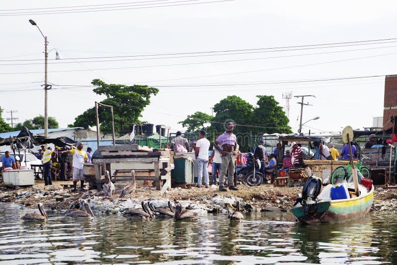 CARTAGENA, COLOMBIA, EL 4 DE AGOSTO DE 2018: Mercado de pescados en Cartagena imagen de archivo libre de regalías