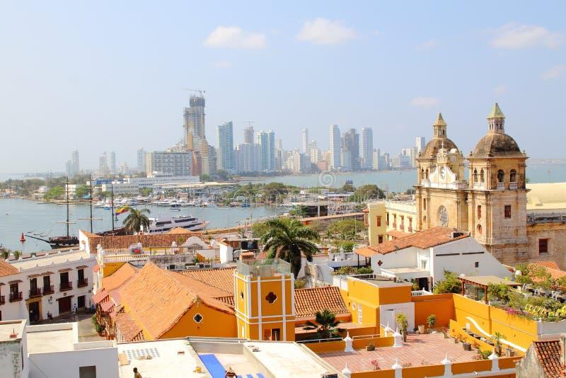 Cartagena Colombia horisont Historisk stad, bocagrande och port arkivfoto