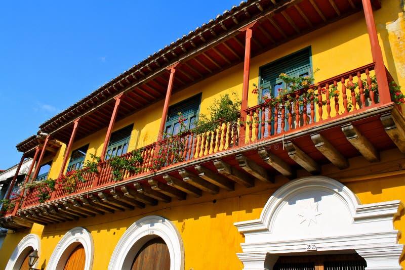 cartagena colombia kolonialt detaljhus royaltyfria bilder