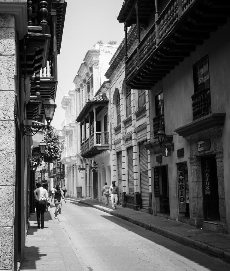 Cartagena Colombia Zuid-Amerika in achter en wit stock afbeeldingen