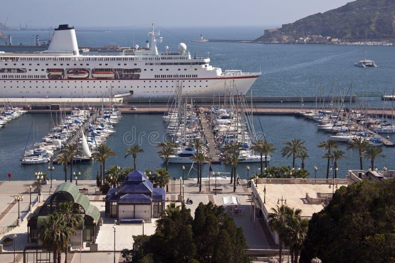 Cartagena - Costa Blanca - Spain. Cruise ship moored in the port of Cartagena on the Costa Blanca in southern Spain royalty free stock photography