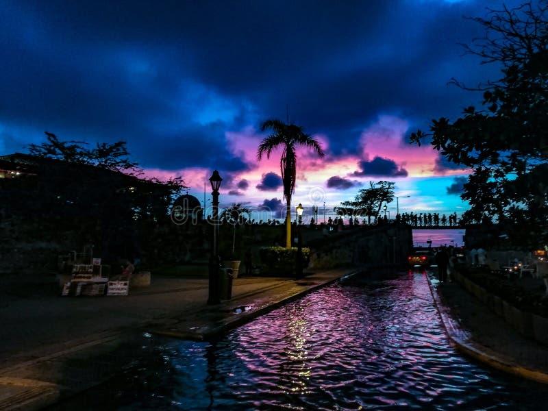 Cartagena& x27 ; coucher du soleil de s photos stock